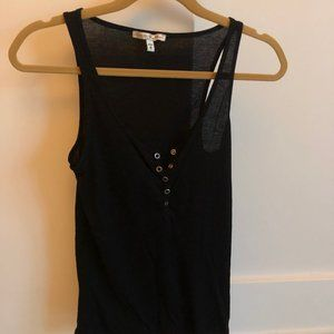Black Tank Top with Button Accent